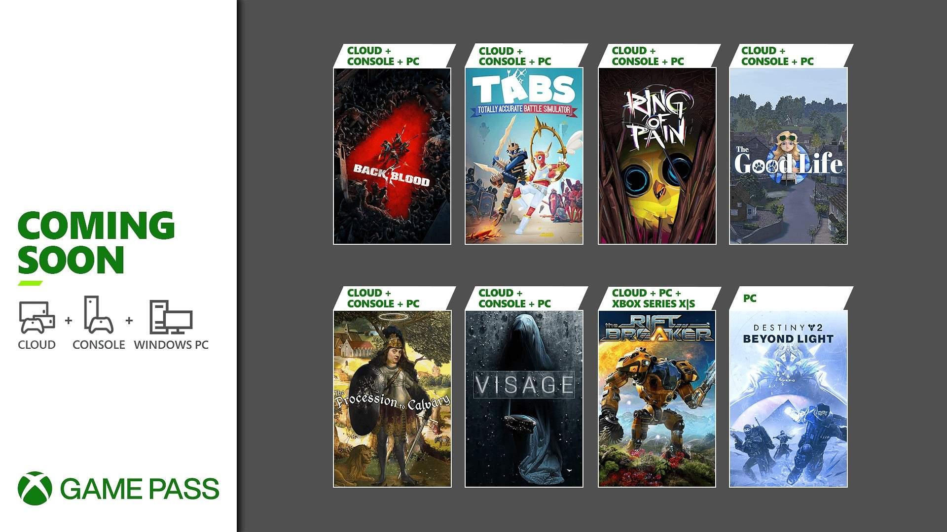 Xbox Game Pass agrega Back 4 Blood, Destiny 2 Beyond Light entre otros a principios de octubre